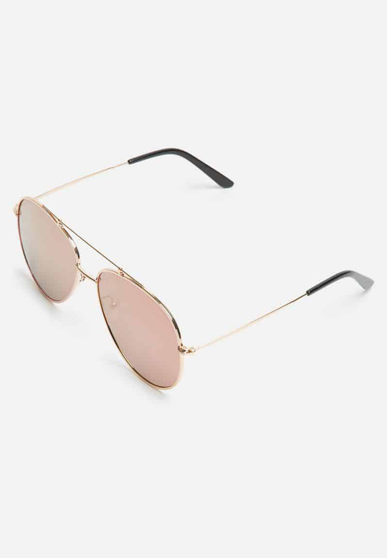 Superbalist Aviator Metallic Mirrored Sunglasses in PInk